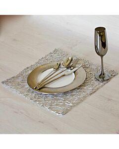 لبادة صحن مربعة Metallic Palm Silver