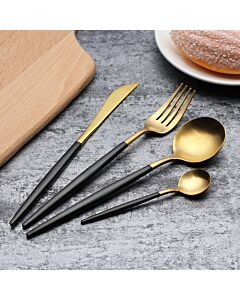 أدوات طعام بتصميم GOA باللونين الأسود والذهبي