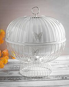 حافظة طعام Butterflies- مقاس وسط فضي