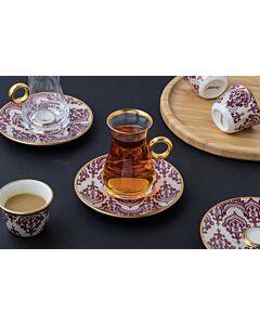 طقم شاهي وقهوة عربي Alonara- عنابي