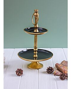 طبق تقديم طبقتين Royal - أسود وذهبي