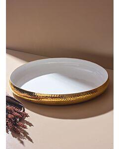 طبق تقديم فلوريدا- أبيض وذهبي كبير