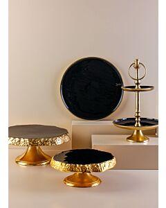 طقم تقديم كيك وحلويات ساوزرن أورينت أرت-لون ذهبي وأسود