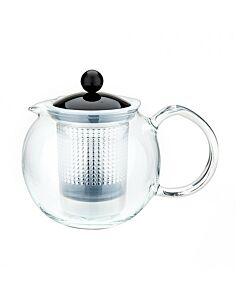 ابريق شاي بلاستيكي بالكبس أسام، لون أسود، 0.5 ليتر، بودم