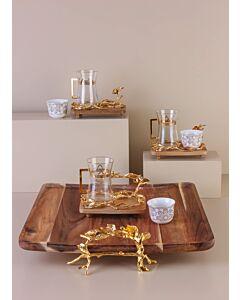 طقم تقديم شاي وقهوة تولوناي- لون ذهبي