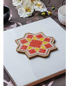 لبادة قدر الفن الإسلامي الثماني - برتقالي وأصفر - صغير