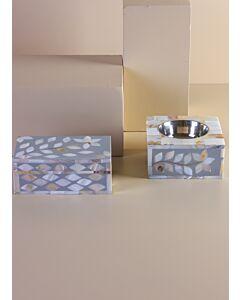 طقم مبخرة مع صندوق سيندار- لون رمادي