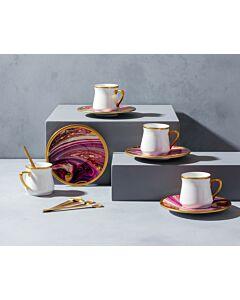 طقم فناجين قهوة وملاعق ماربيلا -وردي متدرج