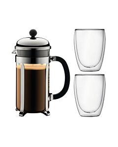 صانعة القهوة بالكبس الفرنسية تشامبورد، لون ذهبي + كوبان بافينا، بودم-Bodum