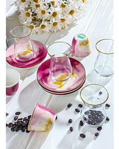 طقم قهوة وشاهي ماربيلا- لون وردي- ل6 أشخاص