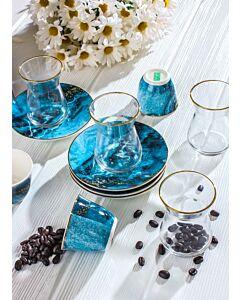 طقم قهوة وشاهي ماربيلا- لون أزرق غامق