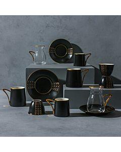 طقم قهوة وشاهي ل6 أشخاص باليرمو- أسود