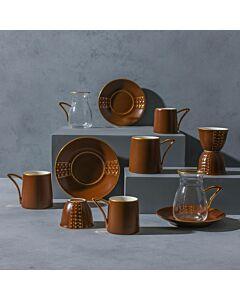 طقم قهوة وشاهي ل6 أشخاص باليرمو- بني