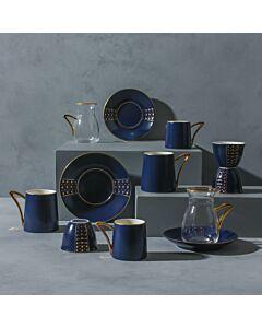 طقم قهوة وشاهي ل6 أشخاص باليرمو- أزرق غامق