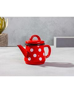 براد شاي كيوت- أحمر مع دوائر بيضاء