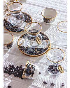 طقم قهوة وشاي سبيشال ماربل - أسود - ل6 أشخاص