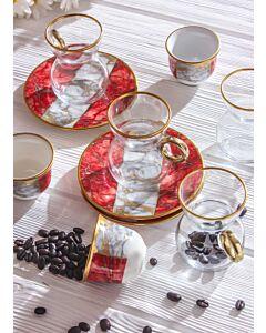 طقم قهوة وشاي سبيشال ماربل - أحمر- ل6 أشخاص