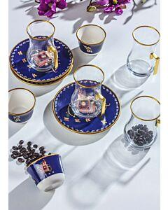 طقم فناجين شاي وقهوة إنديان إليفانتز- لون أزرق