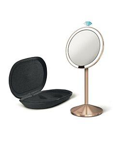 مرآة استشعار صغيرة، لون زهري ذهبي، مع حقيبة للسفر، سيمبل هيومان-Simplehuman