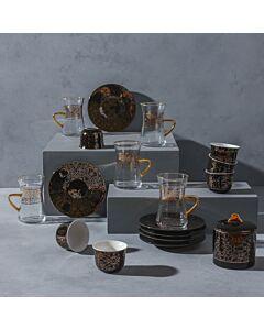 طقم تقديم قهوة وشاي فانسي موتيفس- أسود