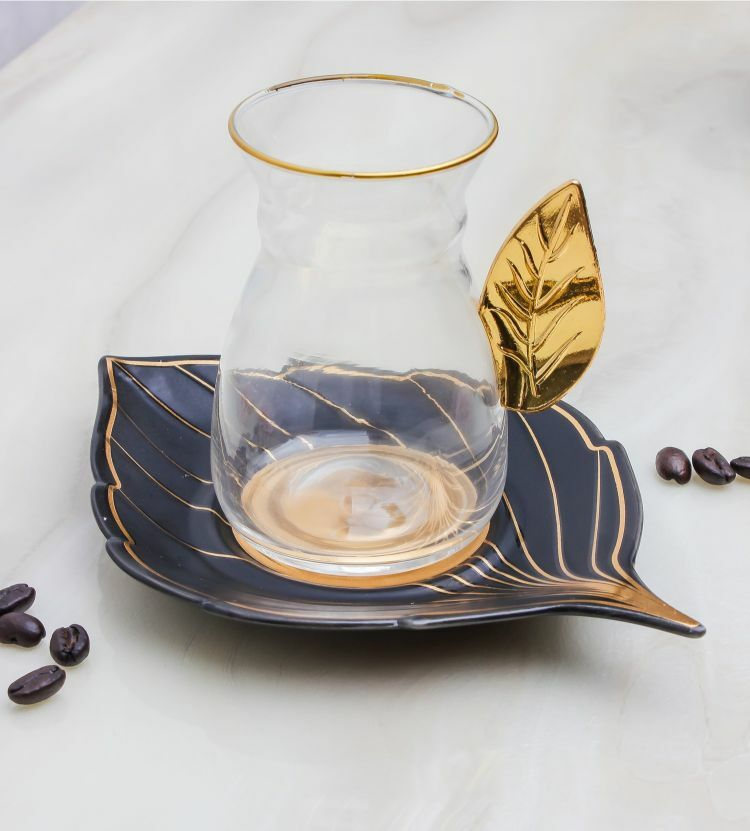 بيالات شاهي غلامور ليف- أسود MEN-PL-66-IST-BK كاسات شاي 179.000000
