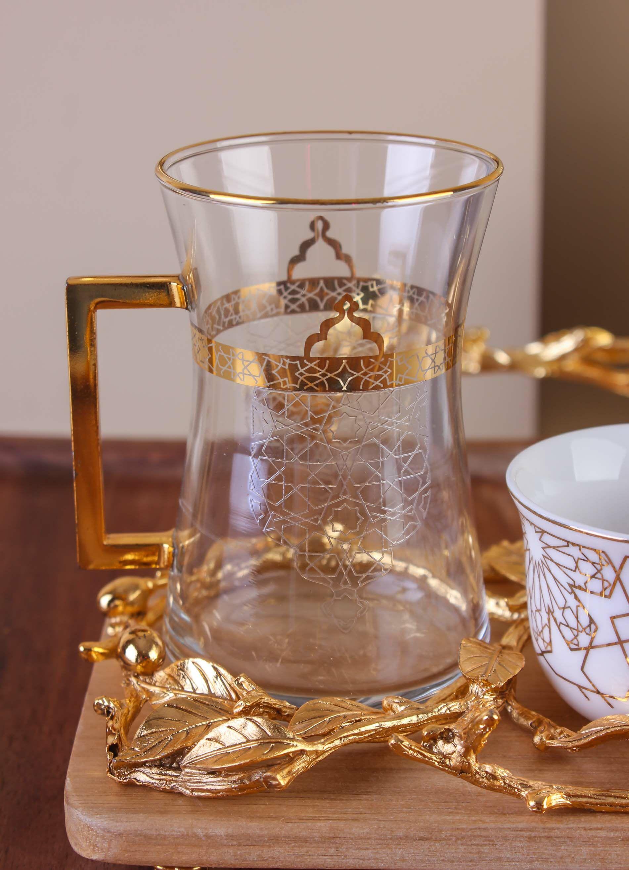 طقم تقديم شاي وقهوة تولوناي- لون ذهبي DA-AC1043S-2W-GOLD