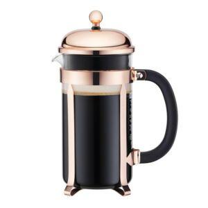 صانعة قهوة بالكبس الفرنسية تشامبورد، لون نحاسي، بودم-Bodum