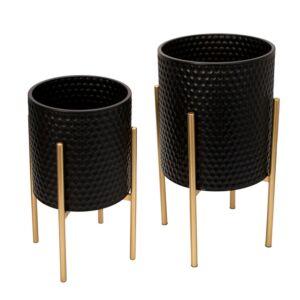 Ss/2 honeycomb planter on metalstand, black/gld