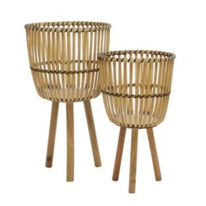 """S/2 WICKER FOOTED PLANTERS 10/12"""", NATURAL اصيص زرع"""