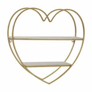 Mmetal/wood 2 tier heart wall shelf, white/gold