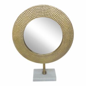 """Mmetal 19"""" hammered mirror on stand, gold"""