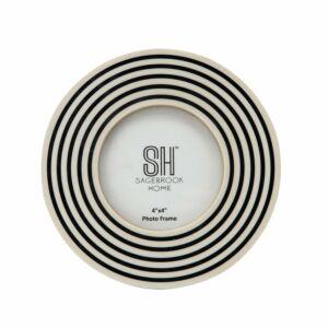 44x4 resin round swirls photo frame, black