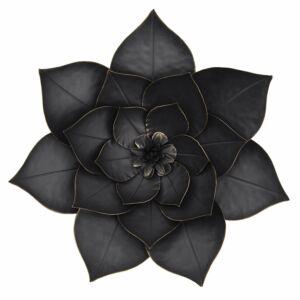 """Mmetal 19"""" lotus wall deco, black"""