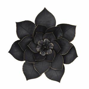 """Mmetal 14"""" lotus wall deco, black"""
