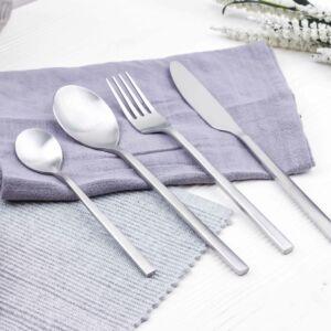طقم أدوات طعام رينبو- فضي