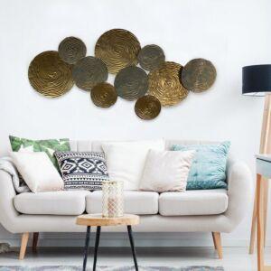 ديكور جداري معدني - ذهبي وفضي