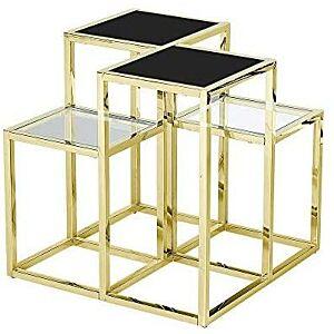 طاولة قهوة STAINLESS STEEL ACCENT TABLE,GOLD/BLACK GLASS