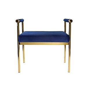 Bench w-velveteen seat- gold-navy