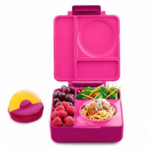 علبة طعام بينتو للأطفال أومي بوكس مع علبة معزولة، لون زهري، أومي لايف-Omielife