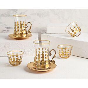 طقم شاي وقهوة Golden dots- ل6 أشخاص