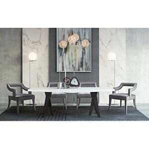 كرسي طاولة طعام Tiffany Grey Velvet Chair