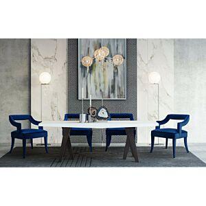 كرسي طاولة طعام Tiffany Navy Velvet Chair