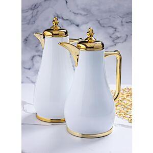 طقم ترامس قهوة لوريالي - أبيض وذهبي
