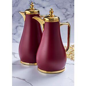 طقم ترامس قهوة لوريالي - خمري وذهبي