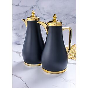 طقم ترامس قهوة لوريالي - أسود وذهبي