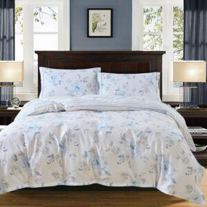 طقم بيت لحاف كانديل - مفرد ونص 4 قطع - لون أبيض ورمادي وأزرق