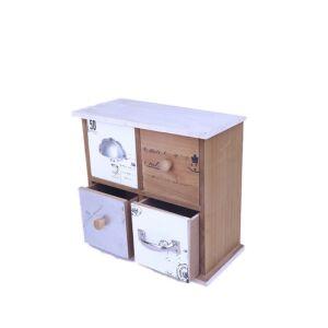 أدراج ديكور من الخشب عدد 4 بتصميم أخاذ متعدد الألوان - 24x22x12سم - 292
