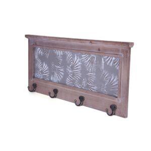 تعاليق جدارية عدد 4 وظهرية خشبية مع نقوش جميلة لون بني وأسود- 60x25سم - 2879