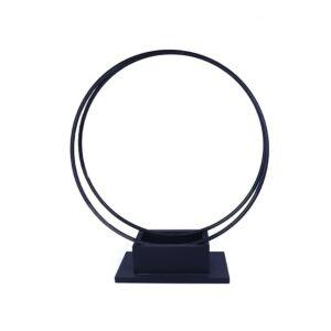 حوض زرع شكل مستطيل حديد واطار دائري بتصميم معاصر لون أسود - 30x57x16سم - 433