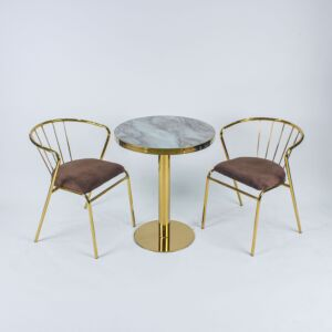 طقم طاولة وكراسي حديقة جورني - لون بني وذهبي